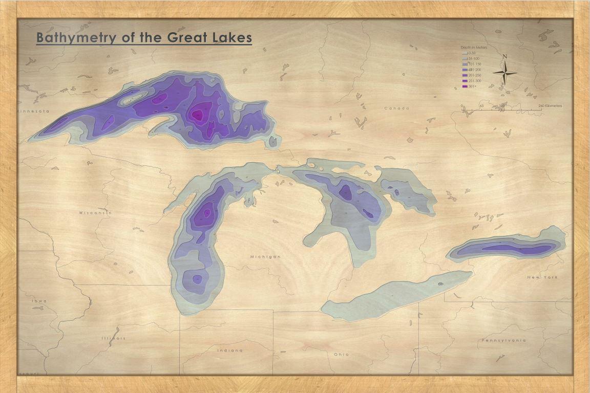 Great Lakes Bathymetry Woodcut
